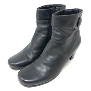 Ecco Hanna Black Leather Ankle Boots Womens 10